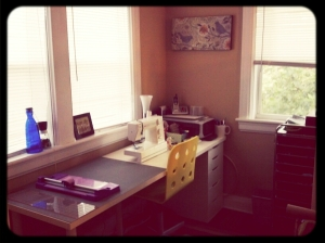 Perfect long desk/workspace from Ikea -- Plenty of room for my machine and cutting mat!