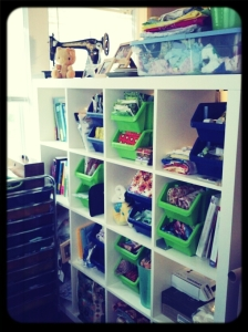 All of my fabric, notions, tools, etc. organized neatly in my Ikea cubbies!